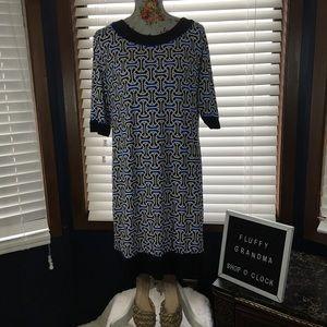 R&K Black & Blue Geometric Sheath Dress XL
